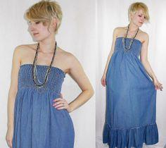 Vintage 90's Denim Strapless Maxi Sundress, $38.00
