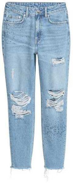 ea750c424bfc H M Mom Jeans Trashed Mom Jeans, Jeans Pants, Light Denim, H m Fashion,