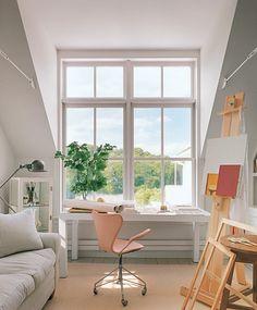 A desk under big window will boost productivity, I'm sure!