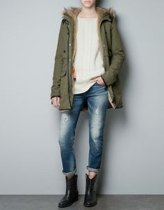 COMBINED COTTON PARKA - Jackets - TRF - ZARA- I just purchased this jacket! Love it!