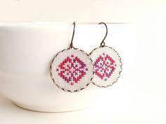 Cross stitch earrings Ethnic ornament in melange red by skrynka, $25.00