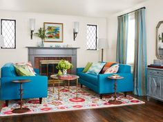 Downsize your living room furniture to make the room feel double its size #hgtvmagazine http://www.hgtv.com/design/rooms/living-and-dining-rooms/downsized-living-room-style?soc=pinterest