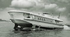 """The """"Rocket"""" (Raketa) was the first Soviet passenger hydrofoil vessel designed in 1957 by the """"Red Sormovo"""" Central Design Bureau (production lasted until the Back In The Ussr, Transportation Technology, Wood Boats, Speed Boats, Submarines, Tall Ships, Water Crafts, Sailing Ships, Sailing Boat"""