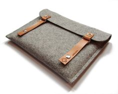 iPad 4 sleeve iPad retina cover tablet case grey modern minimal simple 100% top quality wool felt brown leather straps natural recyclable. $34.00, via Etsy.