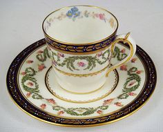 Elegant Royal Crown Derby Demitasse Cup & Saucer (item #1027163, detailed views)