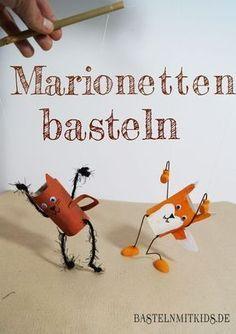Aus Klopapierrollen Marionetten mit Kindern basteln.