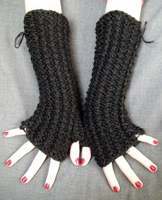 Fingerless Gloves Black  Knit Wrist Warmers Thick and by LaimaShop