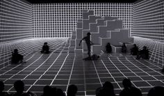 seventh sense - anarchy dance theatre + ultra combos, c.2012 [ultra-interactive performance space where a series of optical-illusion projections animate according to the dancer's movement, turning a white box into a reactive environment; link to series of gifs + short article + video + websites]