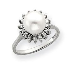 14k White Gold 7.5mm Flower Freshwater Cultured Pearl G-H SI2 Quality Diamond Ring SKU: QGY4379PL/AA $739.99