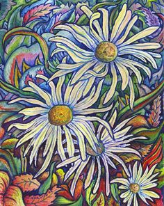 Wild Daisies  Giclee print on canvas  by MorganRalston on Etsy, $28.00