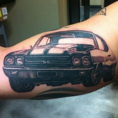 auto addiction. chevelle tattoo I did yesterday. 6.5 hrs, probably the most challenging tattoo in recent memory. Still needs some background and highlights, but you get the idea