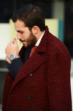 More brick than burgundy I would say is the color of this tweed wool coat and I love it.