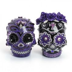 Too cool.  Purple Black Gothic Skull Wedding Cake Toppers 00168 Day of the Dead
