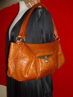 FURLA OSTRICH EMBOSSED LEATHER Brown Hobo Bag Handbag Purse Satchel #Furla #Hobo