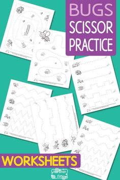 Lovely Bugs Scissor Practice WorksheetsSpring insects bugs scissors ✂️ activity page