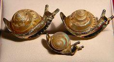 RARE Stunning Original Vintage SWANK Arts of the World Snail Cufflink Set