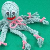 Craft project: See how easy it is to make a little yarn octopus that is   the perfect size, about 5 inches, to hang on your backpack. It also makes a terrific gift or craft bazaar   sale item.  It only takes a little yarn for each octopus—about ¼ ounce. These little cuties are just right   for your yarn leftovers.