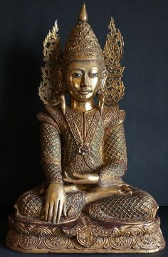 Burmese Teak wood Buddha Statue, gilded with glass mosaic, glass bead and thayo lacquer decoration. Early 20th Century