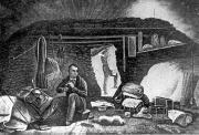 Louis Agassiz in seiner einfachen Behausung am Unteraargletscher, ironisch «Hôtel des Neuchâtelois» genannt. (Bild: ETH-Bibliothek Zürich)