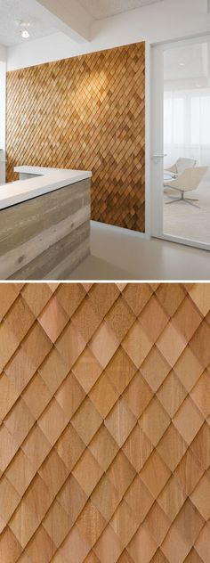 Using Wood Shingles To Create An Accent Wall Adds Warmth And Texture To An Interior Interior Design Idea - In this contemporary office interior, the designers used wooden shingles on various wall panels to act as accent walls and to help create texture in Contemporary Office, Contemporary Interior Design, Office Interior Design, Bathroom Interior Design, Office Designs, Interior Decorating, Contemporary Furniture, Rustic Contemporary, Interior Design Simple