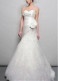 Unforgettable Satin & Tulle A-line Strapless Sweetheart Asymmetrical Waist Pleated Wedding Gown With Handmade Flowers