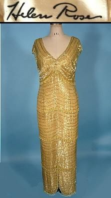 c. 1960's HELEN ROSE Couture Gold Beaded Gown with Crystal Drops! Helen Rose was one of the few top Hollywood Designers from the 1940s-60s. She costumed over 200 films for MGM, was honored with 10 Oscar nominations and two Oscar wins