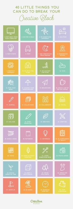 On the Creative Market Blog - Infographic: 40 Little Things You Can Do to Break Your Creative Block