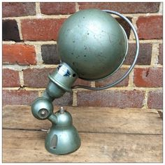 Pair of French industrial Jielde sconce wall lamps. These sconces have been completely restored and graphite polished very carefully. French Industrial, Industrial Style, Desk Lamp, Table Lamp, Mayfly, Lamp Design, Wall Sconces, Green, Light Fixture