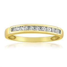 10K Yellow Gold Channel Set Diamond Anniversary-Wedding Ring (1/10ct. Available Sizes 5 to 7 1/2)) (Jewelry)