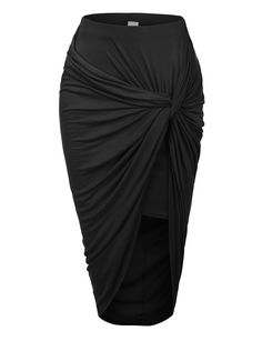 LE3NO Womens Asymmetrical Banded Waist Wrap Cut Out Hi Low Maxi Skirt | LE3NO