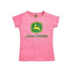 Girls 4-6x John Deere Logo Crewneck Tee, Girl's, Size: 6X, Med Pink