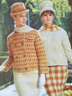 Two Vintage Tunisian Crochet Two Piece Suit Patterns 60s PDF Bust 32 to 36 inches Knitted Reproduction Instant Digital PDF ePattern Download