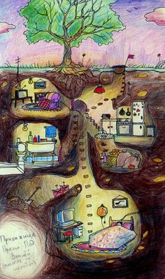 I want an underground house. Art And Illustration, Arte Elemental, 6th Grade Art, Atelier D Art, Drawing Projects, School Art Projects, Art Lessons Elementary, Art Lesson Plans, Art Classroom