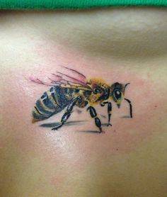 Cute little realistic bee from Ruslan Moshkin at hammersmith tattoo