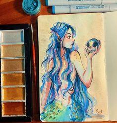 Mermaid Drawings, Mermaid Art, Drawing Cartoon Faces, Cartoon Art, Art Sketches, Art Drawings, Character Art, Character Design, Guache