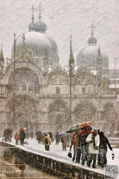 Venice, Italy. A rare sight of St. Marks in the snow.