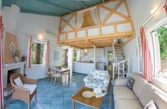 Interior design of villa Kiparissi! Island Life, Islands, Greece, Villa, Dining Room, Loft, Interior Design, Bed, Furniture