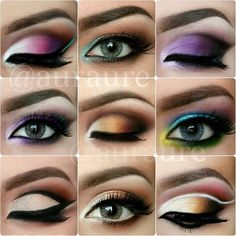 Different eye make up color combos. Beautiful Eye Makeup, Cute Makeup, Pretty Makeup, Makeup Art, Lip Makeup, Makeup Tips, Beauty Makeup, Makeup Looks, Makeup Trends