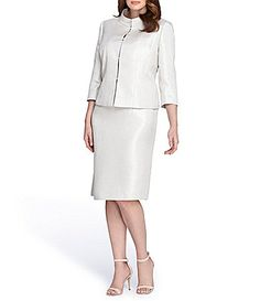 Tahari ASL Plus Jacquard Stand Collar Skirt Suit #Dillards
