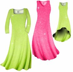 Customize! New! Pretty Pink or Lime Green Sparkle Glimmer Slinky Plus Size & Supersize Standard or Cascading A-Line or Princess Cut Dresses & Shirts, Jackets, Pants, Palazzo's or Skirts Lg to 9x Please visit store for more info.