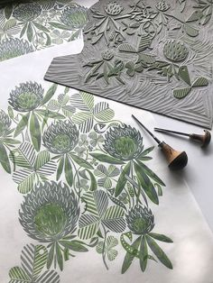 The original linocut blocks for Angie Lewin's 'Clover' fabric and wallpaper for St Jude's