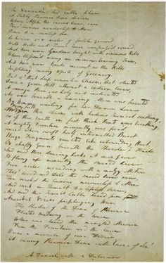 """Samuel Taylor Coleridge's manuscript for his famous poem """"Kubla Khan: Or a Vision in a Dream, a Fragment""""."""