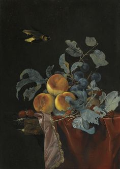 Date unknown - Aelst, Willem van - A Still Life with Peaches, Raspberries and Damsons.
