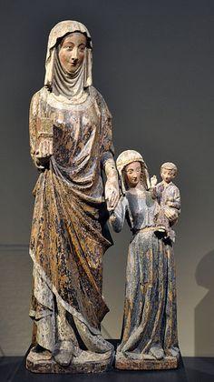 Anna Selbdritt; Rhein-Maas-Gebiet (Lüttich oder Köln), um 1290; Eichenholz, originale Farbfassung, übergangen; 82,2 cm