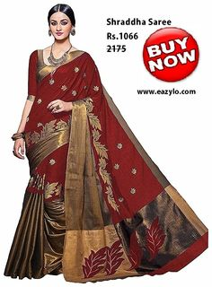Buy online Sarees - Spr fashion selection aura work red color heavy cotton silk saree in india from Bollywood Kart Silk Cotton Sarees, Art Silk Sarees, Silk Sarees Online, Cotton Silk, Printed Cotton, Indian Designer Sarees, Designer Sarees Online, Indian Sarees, Formal Saree