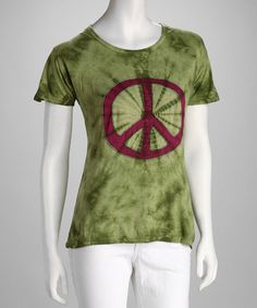 Take a look at this Windhorse Green Embroidered Peace Sign Tee by Windhorse on #zulily today! $15 !!