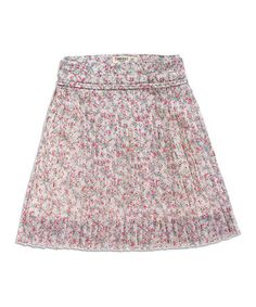 Love this Vintage White & Pink Floral Accordion Skirt by TIMEOUT on #zulily! #zulilyfinds