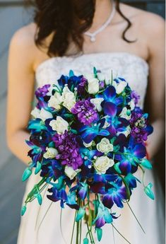 Blue dendrobium orchid in the bouquet. Blue dendrobium orchid in the bouquet. Orchid Wedding Theme, Orchid Bouquet Wedding, Bride Bouquets, Wedding Themes, Floral Wedding, Wedding Colors, Wedding Flowers, Peacock Wedding Decorations, Wedding Ideas