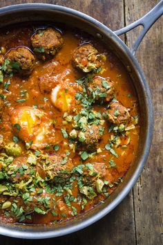 This tagine is traditionally served with eggs, poached in the flavorful sauce. Serve the tagine directly from the skillet, using a spoon to break the eggs and. Morrocan Food, Moroccan Dishes, Moroccan Recipes, Moroccan Beef, Moroccan Spices, Moroccan Chicken, Moroccan Style, Fun Easy Recipes, Healthy Recipes