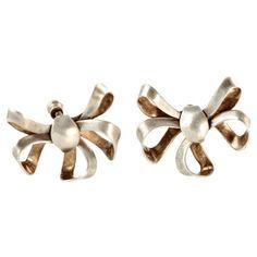 Sterling Silver Bow Earrings, Screw-Back